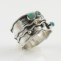 Ethiopian Opal Rough Two Tone Sterling Silver Band Ring