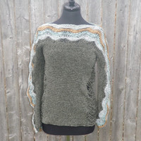 Ivy green women's sweater, handmade womens clothing, crochet sweater