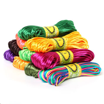 20Meter Soft Satin Rattail Silk Macrame Cord Nylon Kumihimo Shamballa For Diy Bracelet Necklace Jewelry Findings Accessories 2mm