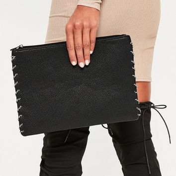 Missguided - Black Rope Edge Clutch Bag