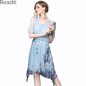 Readit Women Silk Dress 2017 Summer Fake Two Chinese Robes Vintage Print Half Sleeve Dress Plus Size  Dress D2249
