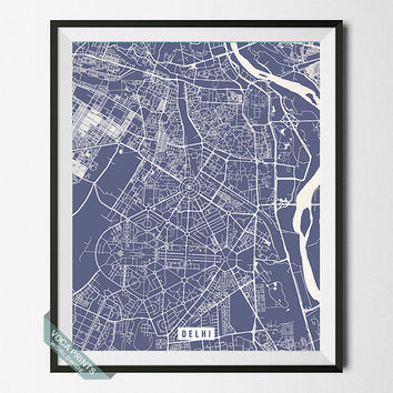 Delhi Print, India Poster, Delhi Street Map, India Map Print, Old Delhi, Wall Decor, Livingroom Decor, Office Art, Back To School