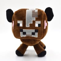 Minecraft Brown Cow Plush Toys MC Skeleton Wolf Enderman Bat Zombie 14-26cm Dolls Soft Suffed Animals Toys Children's Day Christmas Gifts