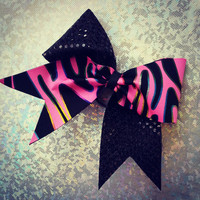 texas size pink multicolor zebra cheer bow