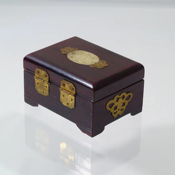 Vintage Jewelry Box Asian Oriental Wood Jade Medallion Inlay Brass Hardware Small Trinket Box Dresser Decor
