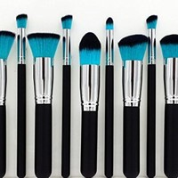 Party Queen 10pcs New Fashion 10pcs Professional Cosmetic Makeup Brush Set Foundation Kabuki Powder Eyeshadow(blue/black Hair)