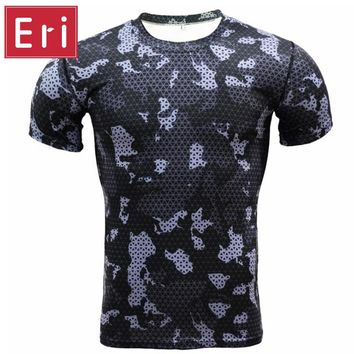 Compression t shirts Camouflage Crossfit Fitness Men Tights Bodybuilding T-Shirt Workout Tops Quick Dry Brand Clothing Male X520