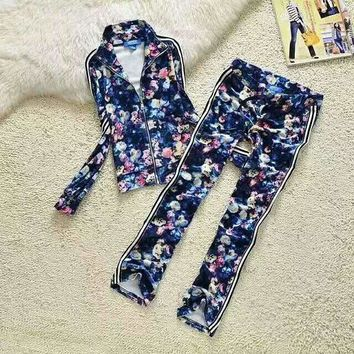 Adidas Casual Print Zipper Top Sweater Pants Trousers Set Two-piece Sportswear Blue