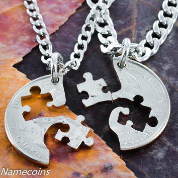 Puzzle Piece Necklace couples or friendship quarter by Namecoins