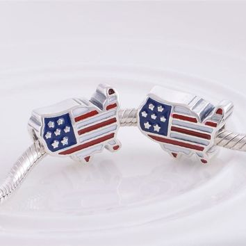 Pandulaso U.S. Flag Charm Beads for Jewelry Making Fit Woman DIY Charms bracelets 100% 925 sterling silver jewelry
