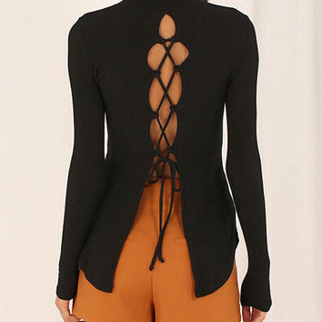 pure color sexy backless shirt
