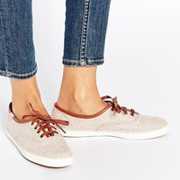 Keds Heathered Wool Oatmeal Plimsoll Trainers