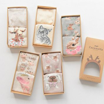 Gift Box women 3d cute animal cat patterns cotton boat socks female spring summer fashion vintage rabbit ankle socks 2pairs/box
