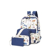 PONGWEE Girls Set Backpacks Purse Casual Kids Backpack Schoolbag 3PCS Children Bag Animal Printing School Shoulder Bags