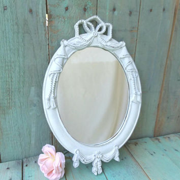 Small Vintage Shabby Chic Rustic Ornate French Vanity Mirror Painted Antique White and Distressed