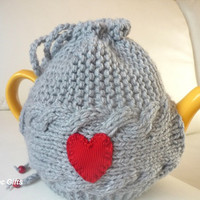 TeaPot Cozy, Knitted tea cosy, grey color tea pot cozy with red heart,  grey color, red heart,