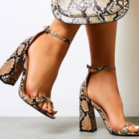 Hot style single character snake-skin sandals with high heels