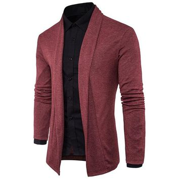 Men Cardigans Sweater Spring Autumn Slim Fit Cardigan Men Long Turn Down Collar Casual Mens Knitted Sweaters Cardigan Masculino