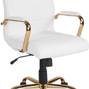 Mid-Back White Leather Executive Swivel Office Chair with Gold Frame and Arms [GO-2286M-WH-GLD-GG]