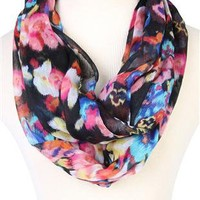colorful floral print scarf - debshops.com