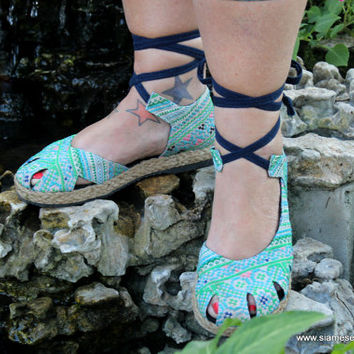 Vegan Womens Espadrilles With Ankle Wrap, Blue Hmong Embroidery Summer Shoes