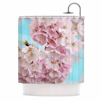 """Sylvia Cook """"A Pastel Spring"""" Pink Floral Shower Curtain"""