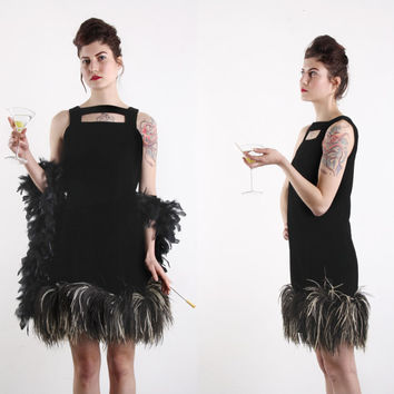 OMG 1960s Ostrich Feather Victor Costa LBD . Dress Cocktail Gown . Audrey Hepburn