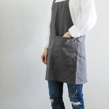 Square Cross short linen apron/ Criss-Cross Apron/  No-ties Apron