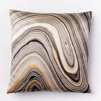 Marble Print Silk Pillow Cover - Feather Gray