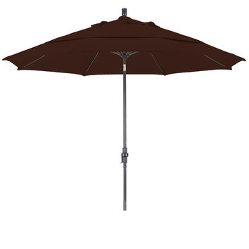 11 Foot Sunbrella 4A Fabric Fiberglass Rib Crank Lift Collar Tilt Aluminum Patio Umbrella with Bronze Pole, 98 Colors