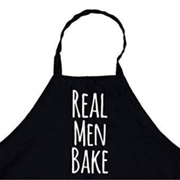 Real Men Cook Chef's Funny Cooking Apron for Men (Black) Kitchen, BBQ Grill, Breathable, Machine Washable