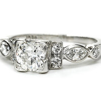 Art Deco Old European Cut Diamond Platinum Ring - The Three Graces
