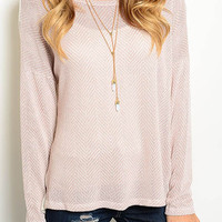 Just Starting My Weekend Pretty Knit Top - Dusty Blush