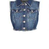 Dark Wash Fray Denim Vest