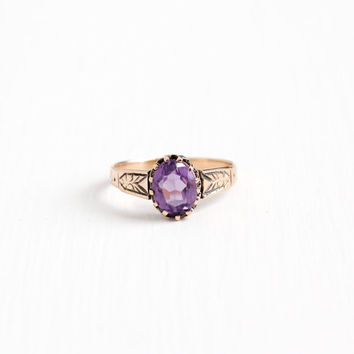 Antique Victorian 10k Rose Gold Amethyst Ring - Late 1800s Vintage Size 9 Purple Oval 2+ Carat Gemstone Fine Flower Leaf Motif Jewelry