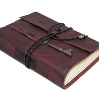 Burgundy Leather Journal with Skeleton Key Bookmark