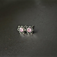 Sterling silver Small stud earrings, flower studs, sterling silver earrings, cubic zirconia pink earrings