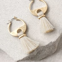 Cha Cha Gold and Cream Tassel Earrings