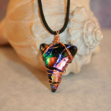 Arrow head Shark Tooth Shaped Dichroic Glass Pendant Necklace Copper Wire Wrapped Fused Glass Pendant One of a Kind