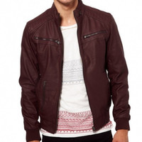 Men's Burgandy Biker Leather Jacket | Style and Decor