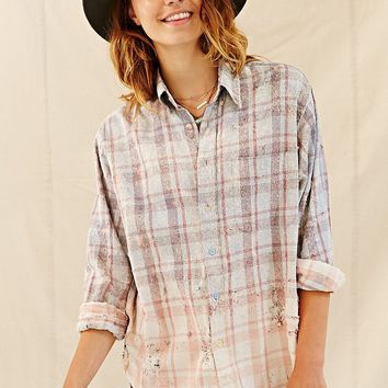 Totally Blown Bleach + Destroy Flannel Shirt - Urban Outfitters