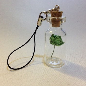 Emerald Green Rose in a bottle phone strap charm