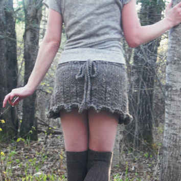 Pixie Skirt Woodland Fairy Mini Skirt Hand Knitted Ready To Ship