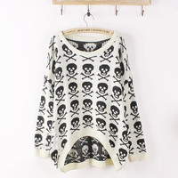 Oversized Skull Print Sweater