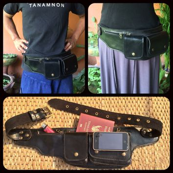 Leather Pocket Belt / Utility Hip Bag / Fanny Pack / Wallet - EXPLORER