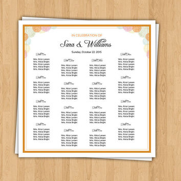 SALE ! Wedding Seating Chart Board Template | Printable Wedding Seating Poster | Editable MS Word Template | Instant Download | SC-012