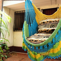 Turquoise Yellow Light Green Tricolor Sitting Hammock, Hanging Chair Natural Cotton and Wood plus Simple Fringe