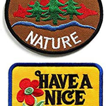 Homiego Save The Nature Patch&Have a Nice Day Patch - Peace Sign Patch,Applique Embroidered Patches