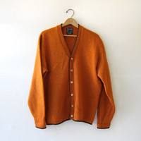 Vintage pumpkin orange wool cardigan sweater. Oversized sweater. 1950s mens cardigan.