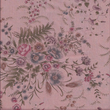 2.5 Yard Cut of 1970s Vintage Dusty Pink Floral Voile Fabric in Poly Cotton Blend, 42 Inch Wide, Vintage Fabric, Home Sewing Fabric, Dress